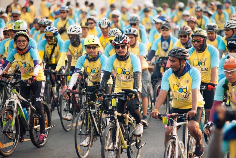 "Dad† Thailand's循环的庆祝的""Bike的陛下国王 库存照片"