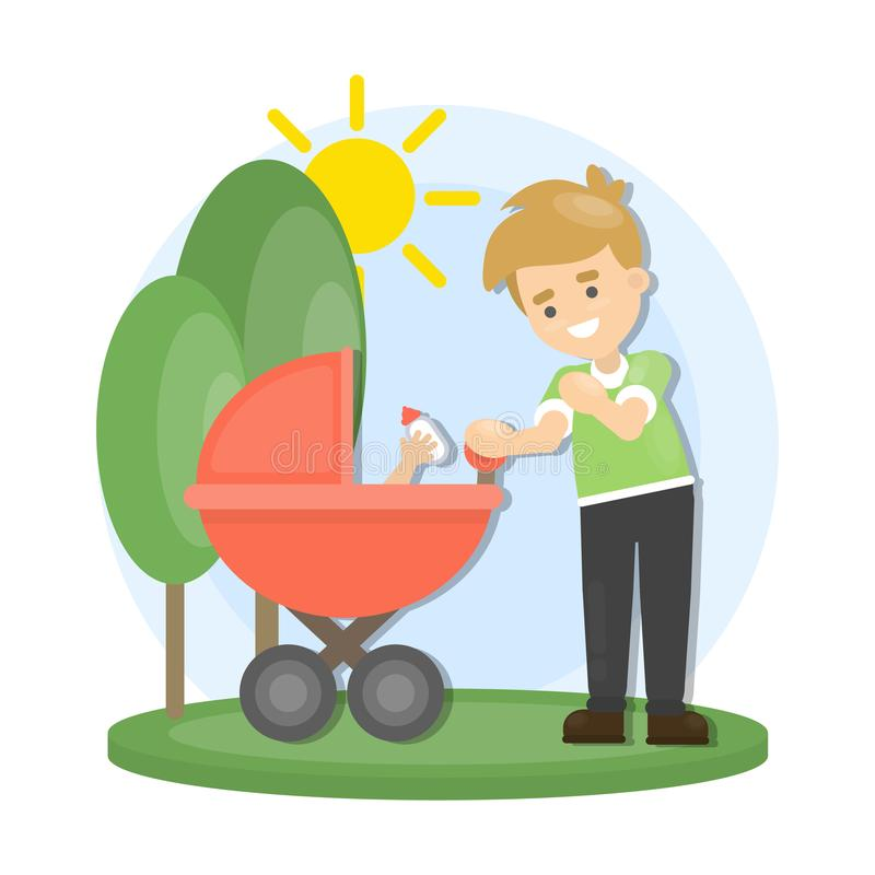 Dad with baby. royalty free illustration