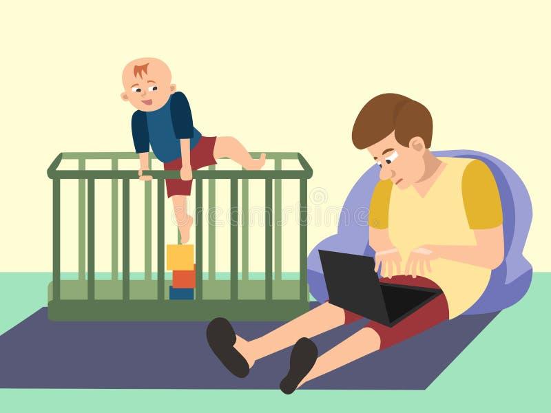 Dad babysitting with toddler funny cartoon. Dad babysitting with his son, toddler , having troubles - funny cartoon vector illustration royalty free illustration