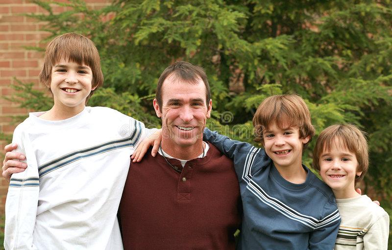 Download Dad and the Boys stock photo. Image of close, american - 3408046