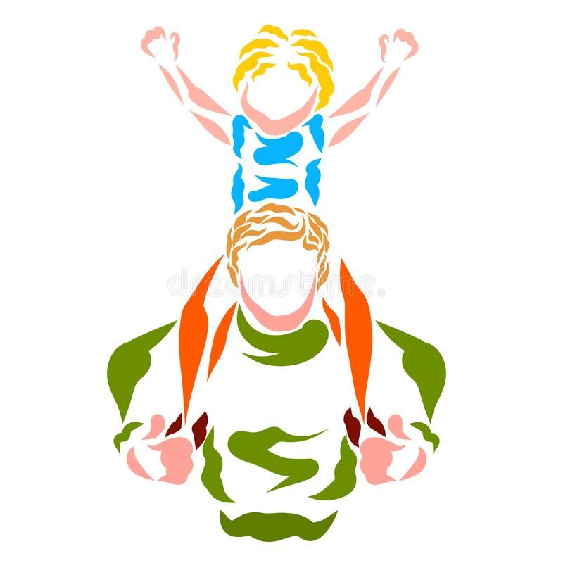 Dad carries cheerful son on his shoulders vector illustration