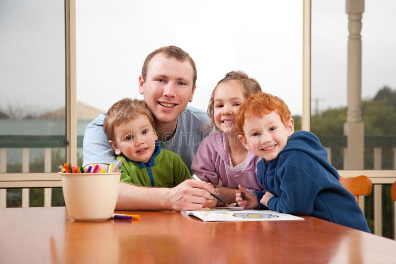 Download Dad Coloring Kids Pictures With Children Stock Image - Image: 20347425