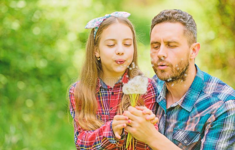 Dad and daughter collecting dandelion flowers. Keep allergies from ruining your life. Seasonal allergies concept stock photo