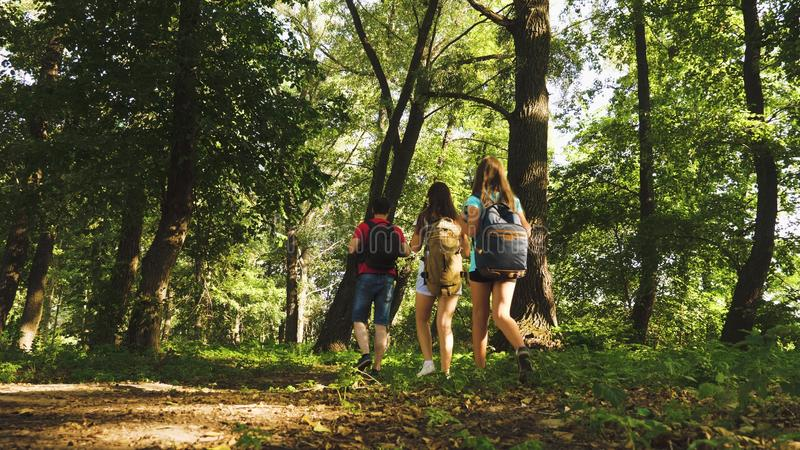 Dad and daughters, children travel in park in summer. teamwork travelers. Family on vacation travels in forest. friends. Tourists go camping in forest. People stock photos