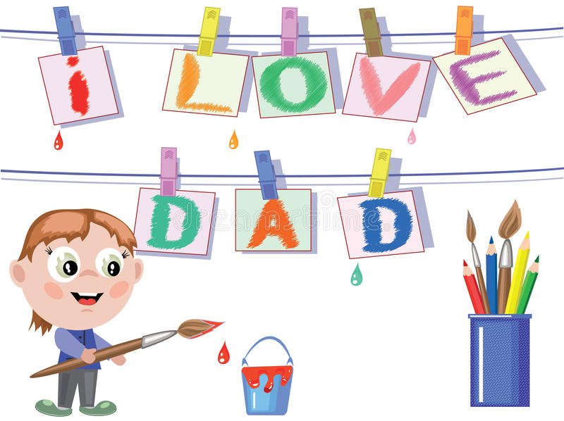 Download Dad day stock vector. Image of relation, words, card - 19541743