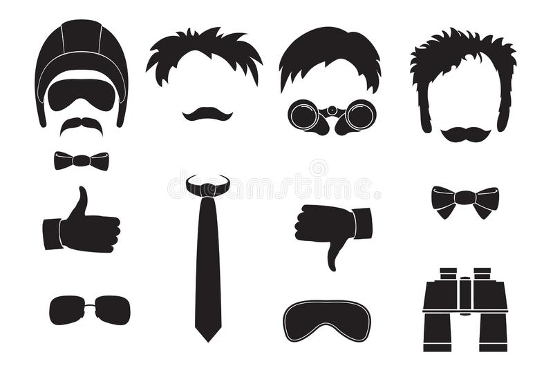 Dad day and men`s holidays. Funny characters without faces and accessories. Flat style. Vector icons set. stock illustration