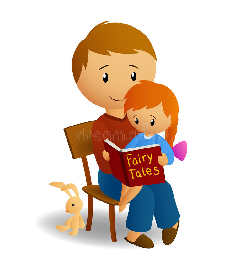 Download Dad And His Daughter Read Tales Stock Vector - Image: 15901459