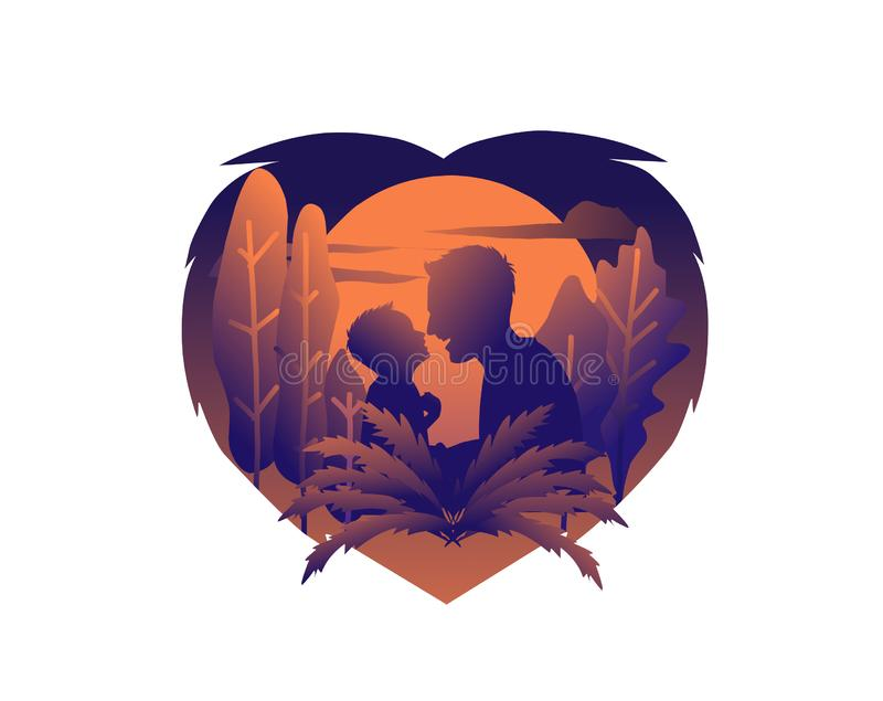 Dad and his son. Vector editable file as vector royalty free illustration