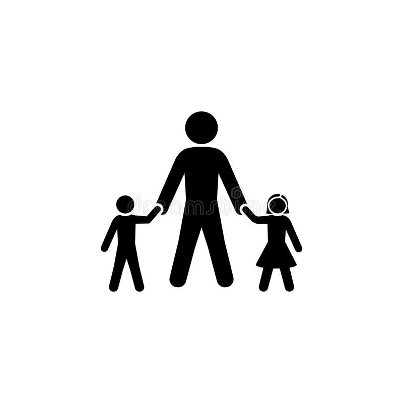 Dad with his son and daughter royalty free illustration