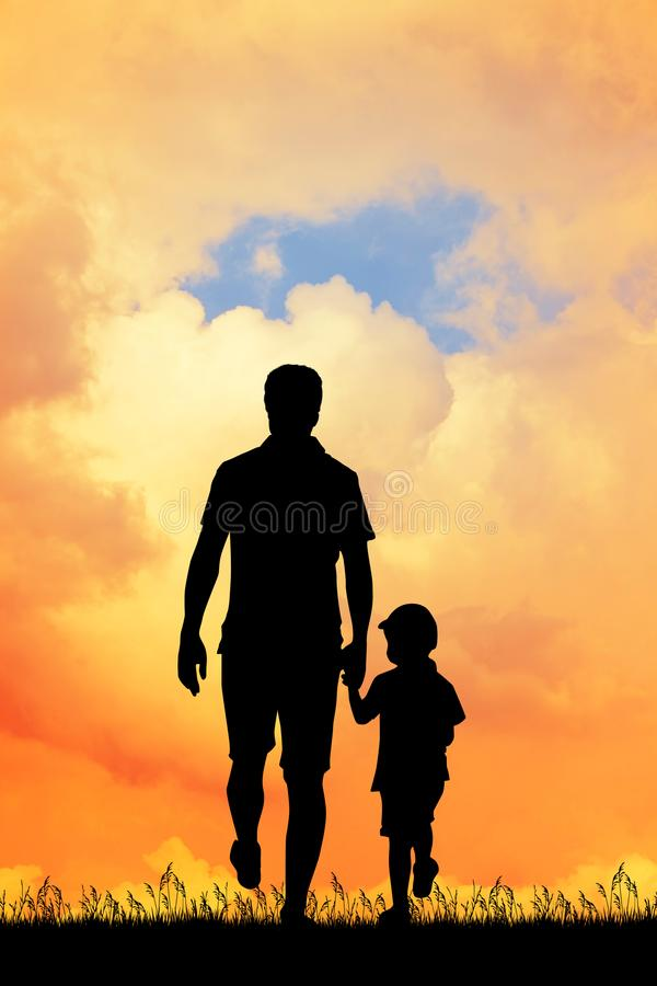 Dad with his son at sunset stock illustration