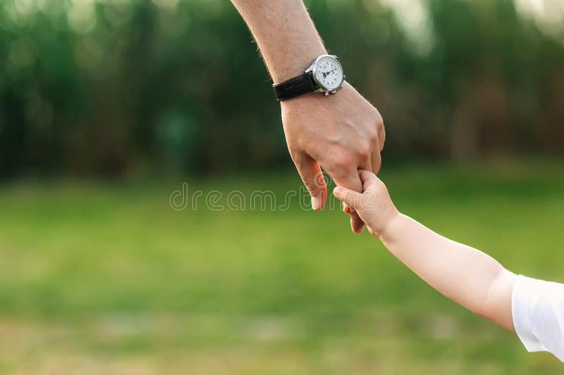 The dad holds the child by the hand. a walk in the nature stock images