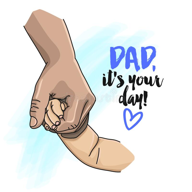 Free Dad, It`s Your Day - Vector Greeting Card For Happy Father`s Day Royalty Free Stock Image - 185742746