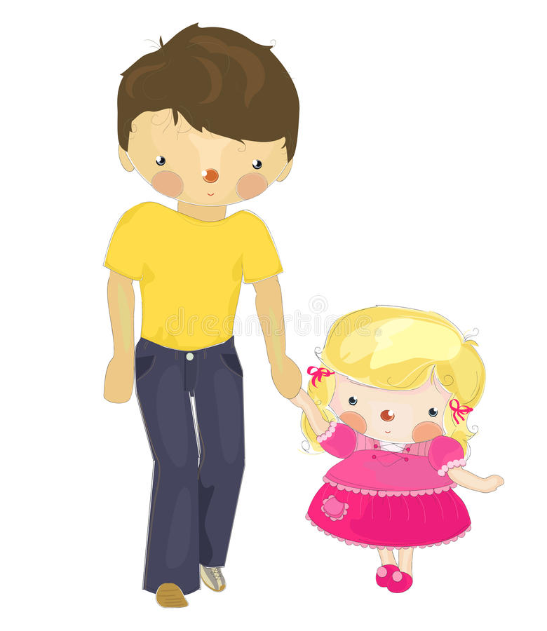Download Dad and a little daughter stock illustration. Illustration of daddy - 19451160