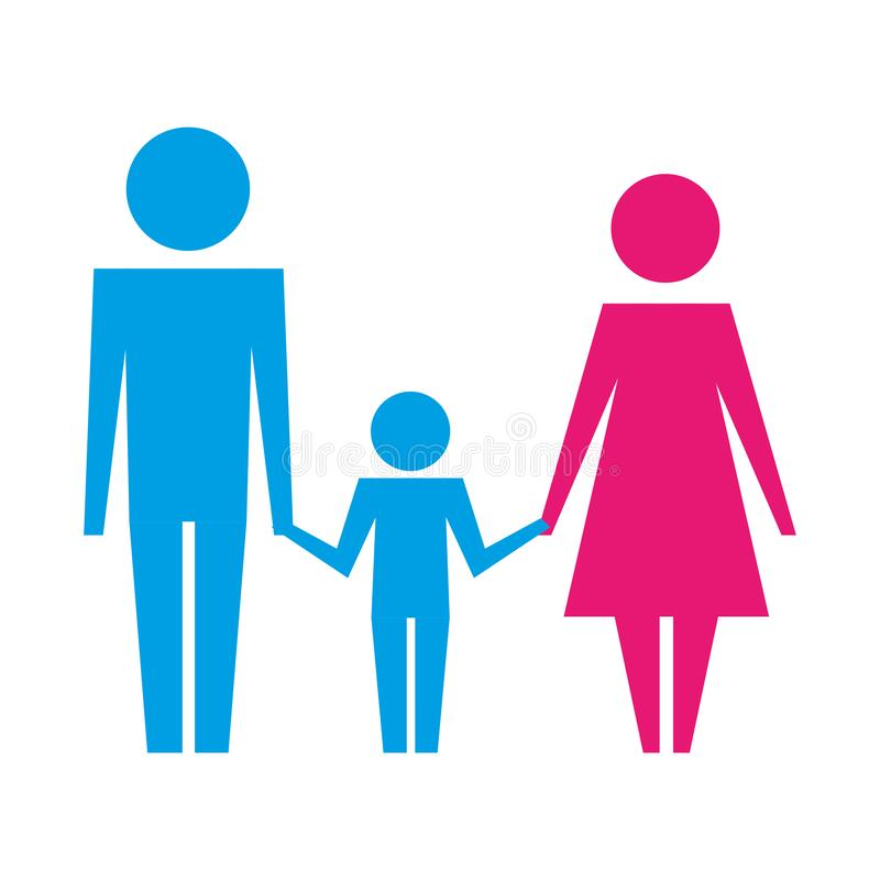 Dad mom and son family together pictogram. Vector illustration royalty free illustration