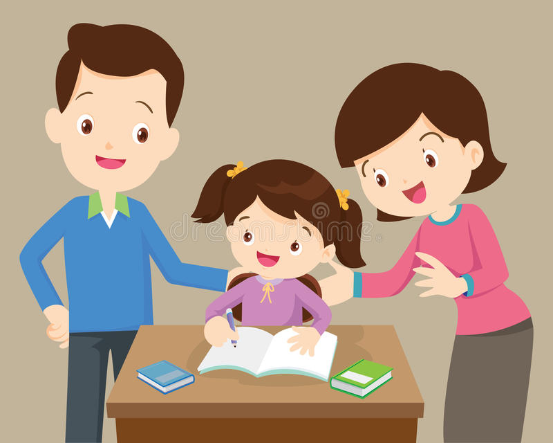Dad mother daughter homework. Father and mother helping daughter to homework.family doing homework together at home royalty free illustration