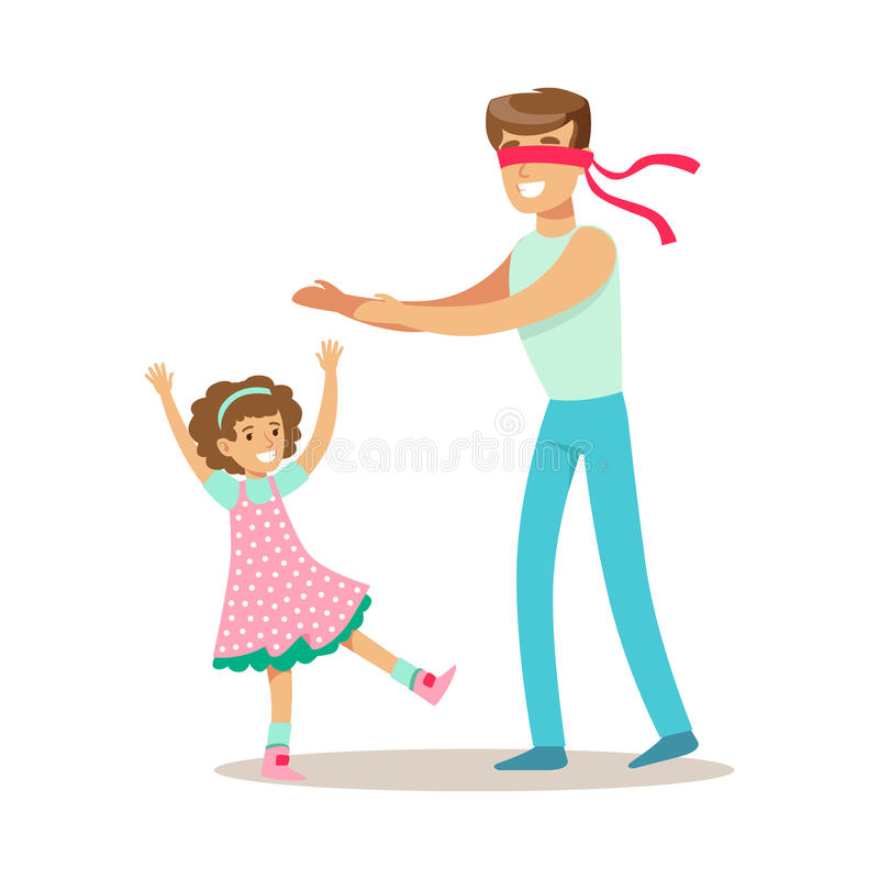 Dad Playing Hide And Seek With Daughter, Loving Father Enjoying Good Quality Daddy Time With Happy Kid. Child And Parent Having Fun Together Vector Cartoon royalty free illustration