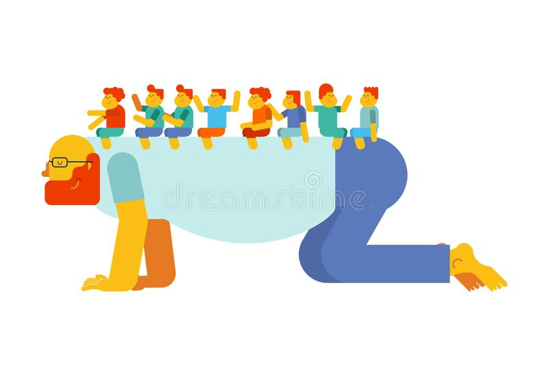 Dad playing horse children on back. Kids are sitting on their fa royalty free illustration