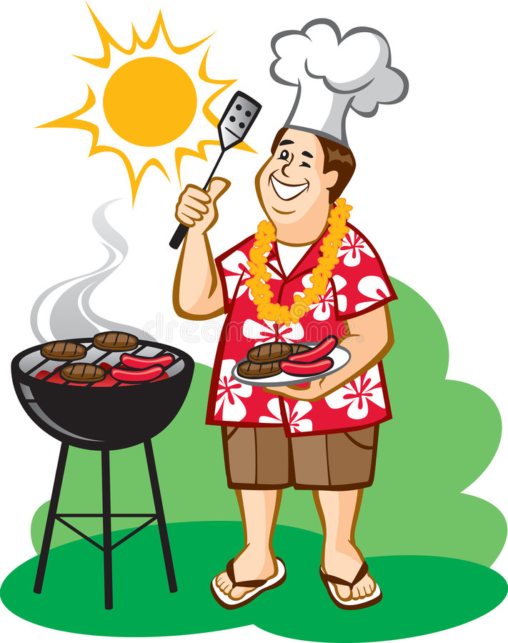 Dad's Barbecue (BBQ) royalty free illustration
