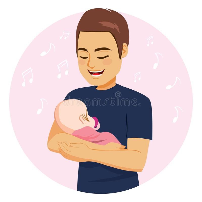 Dad Singing Baby Girl. Young dad with happy face expression singing sweet baby girl embracing her on pink blanket royalty free illustration