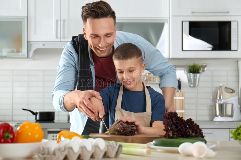 Dad and son cooking together in stock image