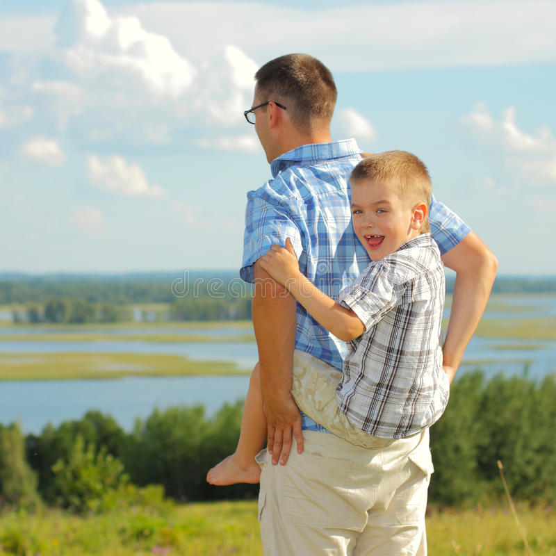 Dad Carry Son His Back Stock Images