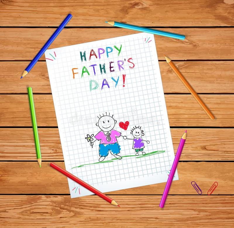 Dad and Son Happy Fathers Day Doodle Greeting Card. Dad and Son Happy Fathers Day Greeting Card, Baby Hand Drawn Illustration on Checkered Notebook Sheet or royalty free illustration