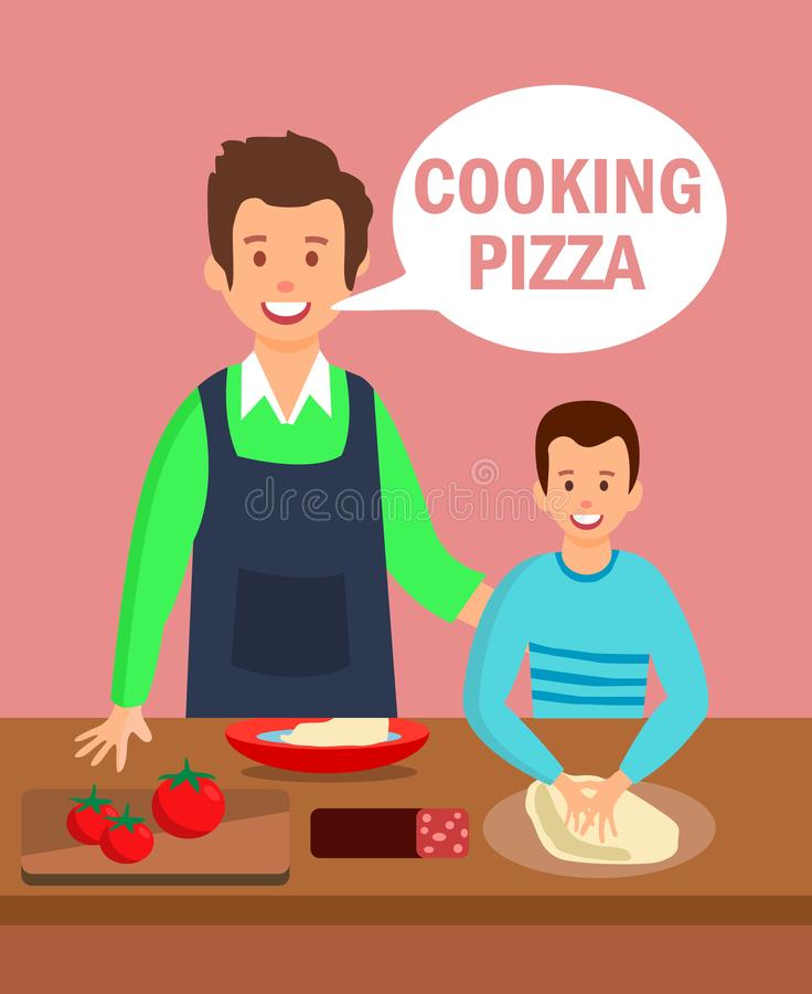 Dad and Son in Kitchen Flat Cartoon Illustration. Chef Giving Culinary Lessons for Kids. Pepperoni, Margarita, Napolitana Cooking Process. Happy Boy Kneading vector illustration