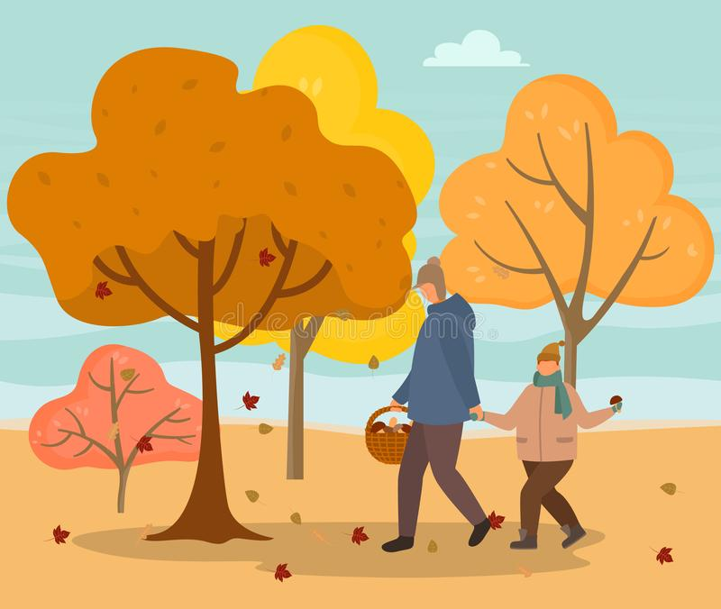 Dad and Son Picking Mushrooms in Autumn Forest. Forest in autumn and people gathering mushrooms vector. Dad and son in park in fall season, seasonal hobby of men vector illustration
