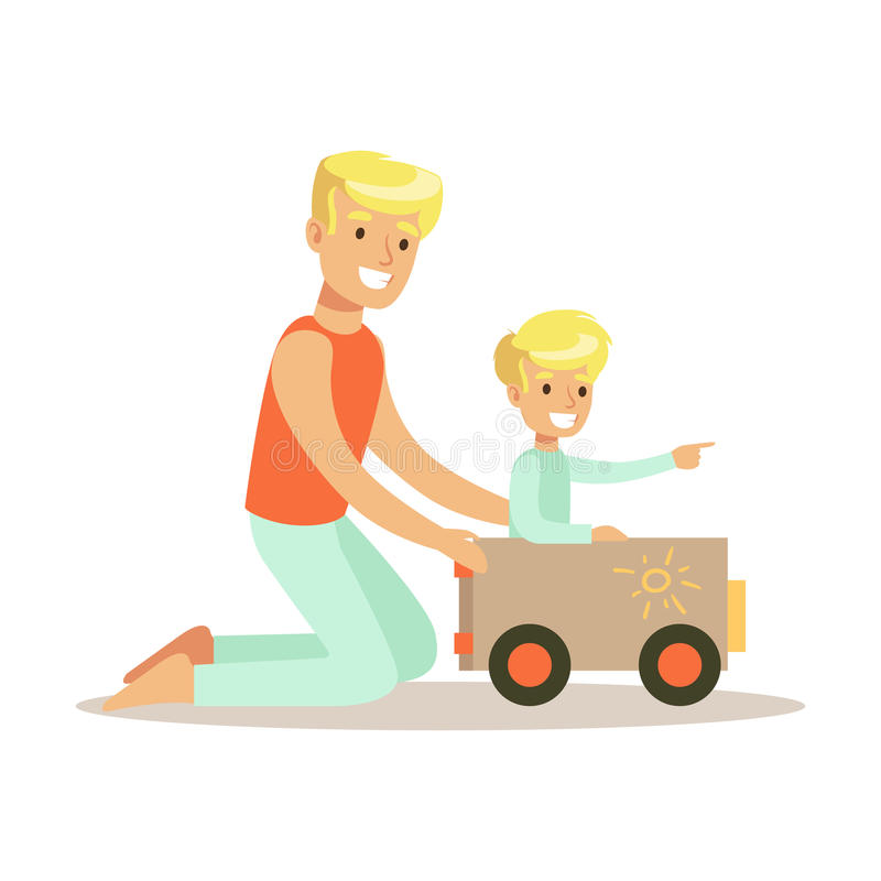 Dad And Son Playing With Cardboard Car, Loving Father Enjoying Good Quality Daddy Time With Happy Kid. Child And Parent Having Fun Together Vector Cartoon stock illustration