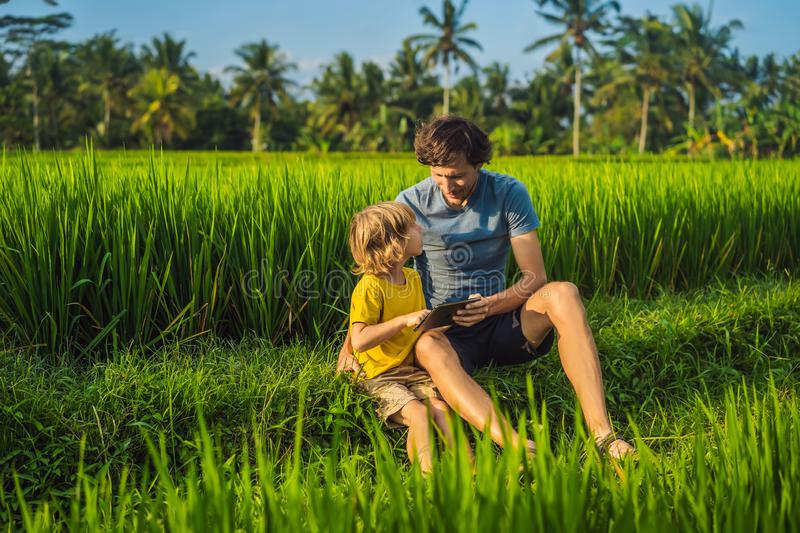 Dad and son sitting on the field holding tablet. Boy sitting on the grass on sunny day. Home schooling or playing a. Tablet stock images
