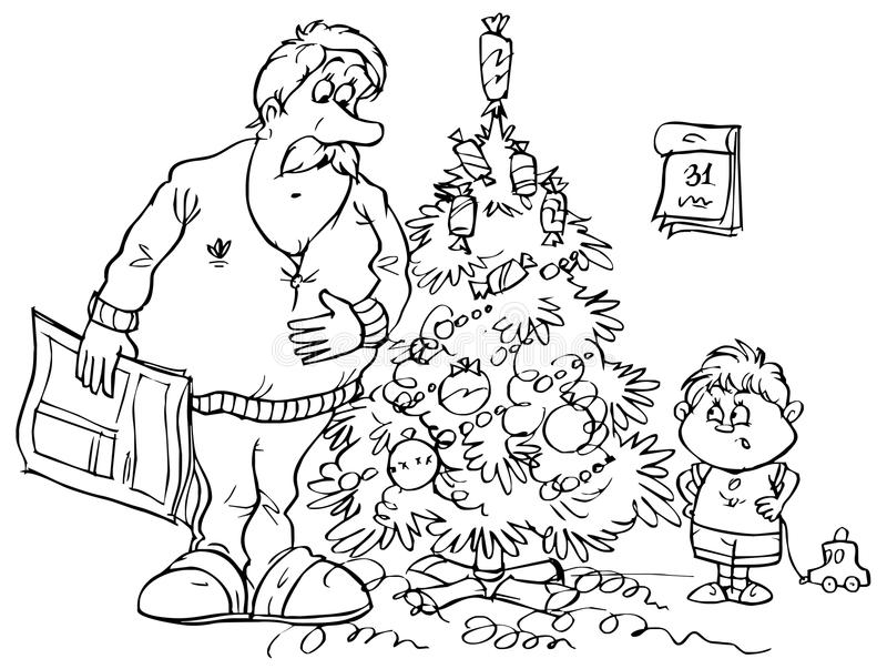 Download Dad And Son Standing By Christmas Tree Stock Vector - Image: 11446291