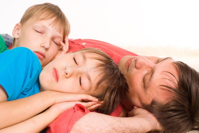 Download Dad and sons sleeping stock image. Image of beautiful - 20957945