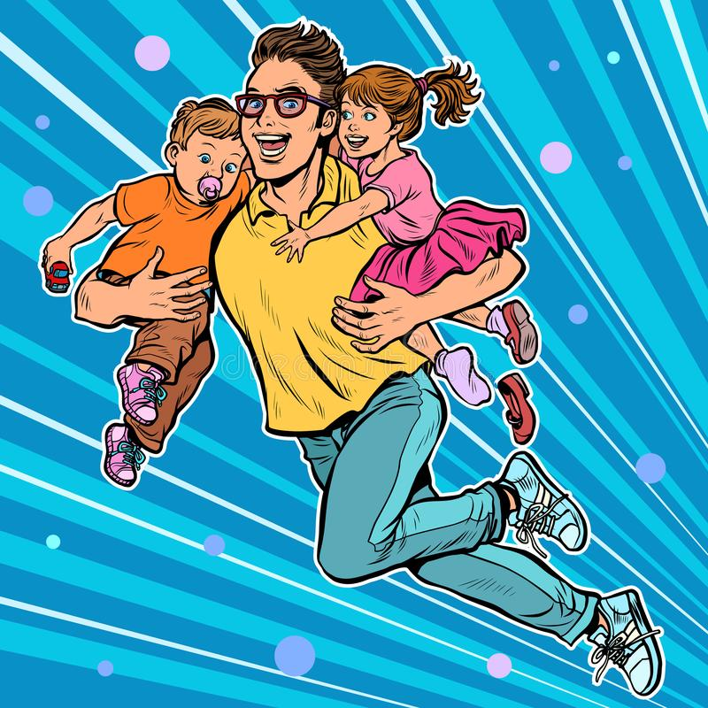 Dad superhero flies and carries his daughter and son in his arms. paternity royalty free illustration