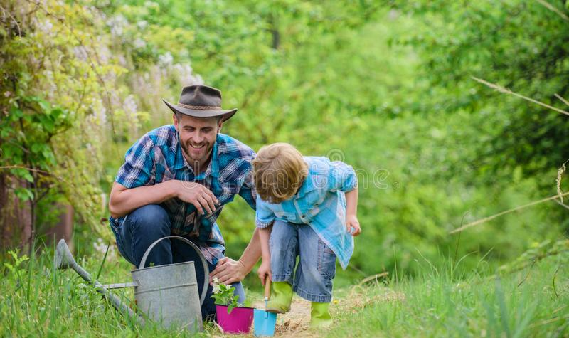 Dad teaching little son care plants. Little helper in garden. Planting flowers. Make planet greener. Growing plants. Take care of plants. Boy and father in royalty free stock photos