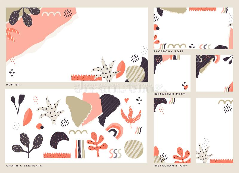 Dadaism inspired abstract style graphic elements with social media post templates stock illustration