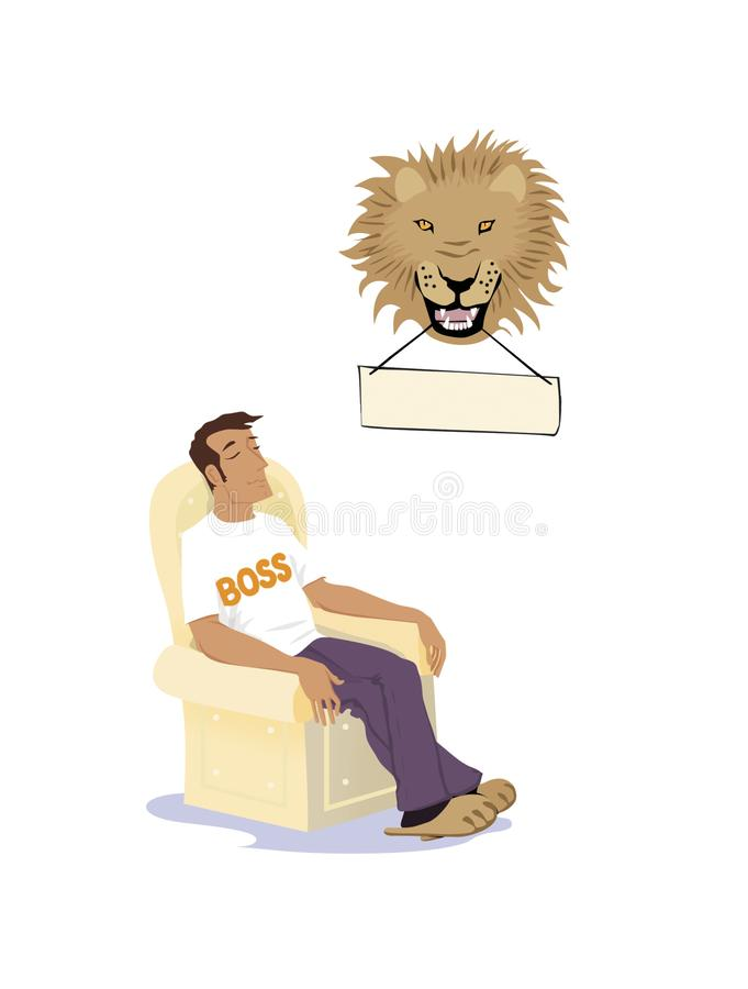 Daddy is the boss. Man with his eyes closed is sitting in a chair under a stuffed lion head royalty free illustration