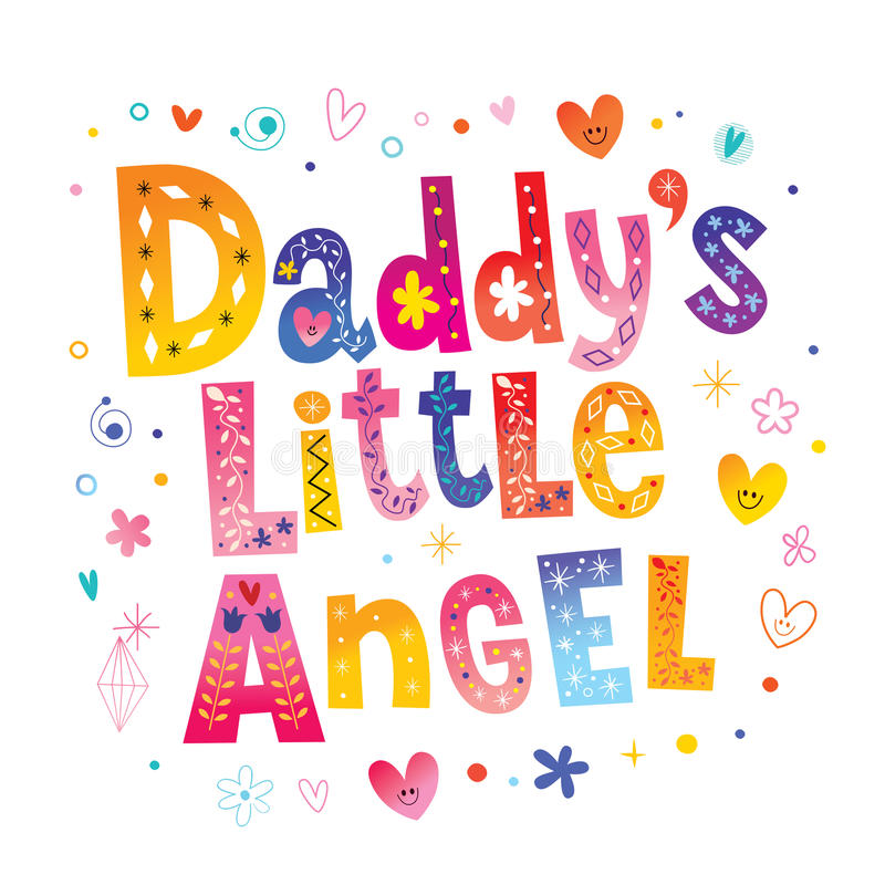 Daddy`s little angel royalty free illustration