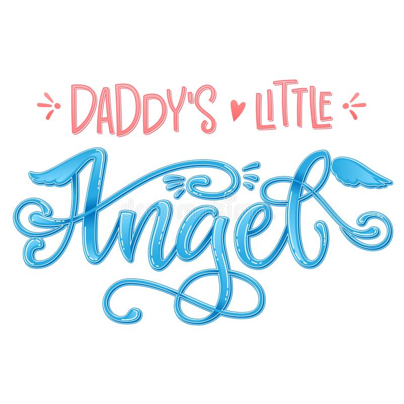Daddy`s Little Angel quote. Baby shower hand drawn calligraphy script, grotesque stile lettering phrase. Heart, angelic wings, halo elements. Color pink, blue royalty free stock image