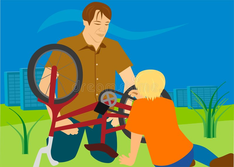 Download Daddy And Son Are Repairing The Bicycle Stock Illustration - Illustration: 7022783