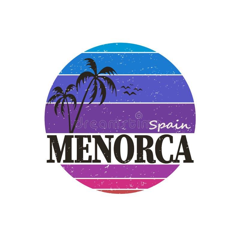 Dadge de design do logotipo da camiseta Minorca vintage Rótulo, distintivo ou elemento de insígnia feitos à mão no estilo retrô p ilustração do vetor