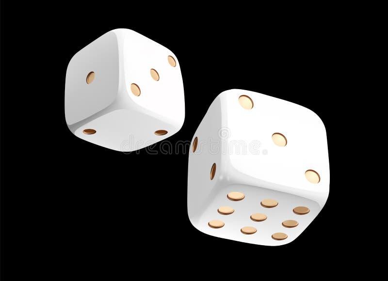 Dadi bianchi del casinò su fondo nero Concetto di gioco dei dadi online del casinò isolato sul nero vettore dei dadi 3d illustrazione vettoriale