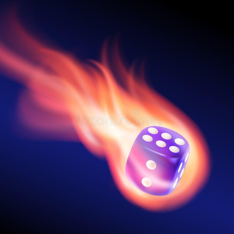 Dadi blu in fuoco illustrazione vettoriale