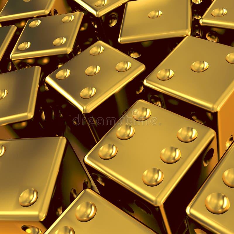 dadi dell'oro 3d illustrazione vettoriale