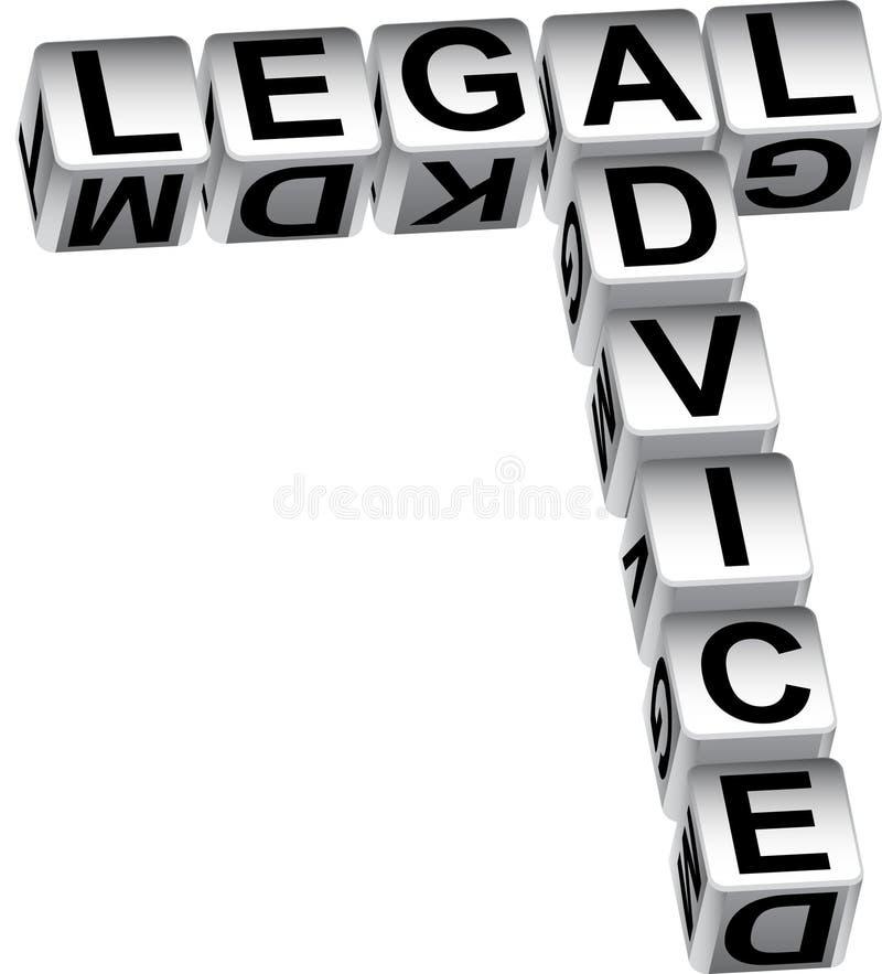 Dadi di consiglio legale illustrazione di stock