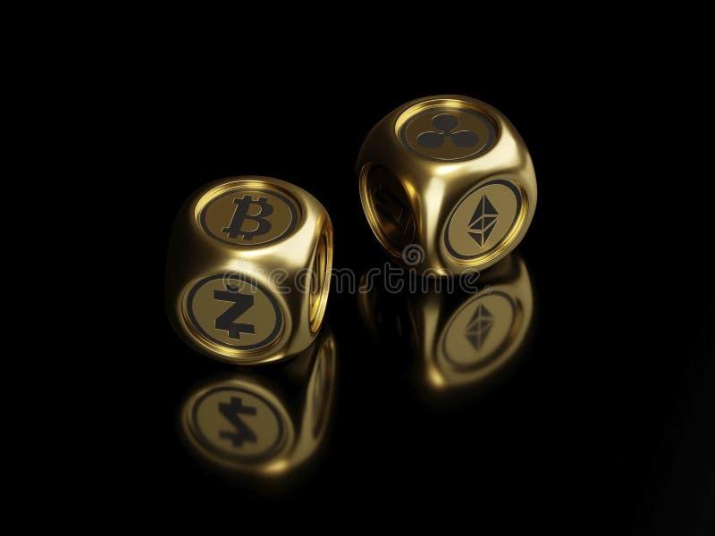Dadi di Cryptocurrency - il bitcoin d'oro, il etherium -3D rende illustrazione vettoriale
