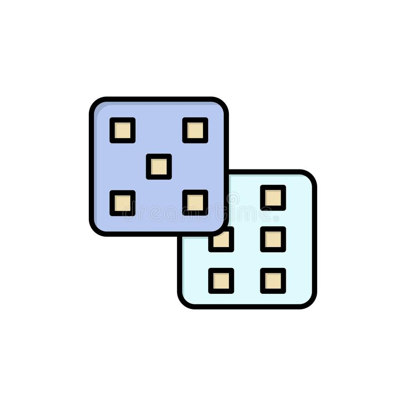 Dadi, gioco, icona piana di colore di probabilità Modello dell'insegna dell'icona di vettore illustrazione di stock