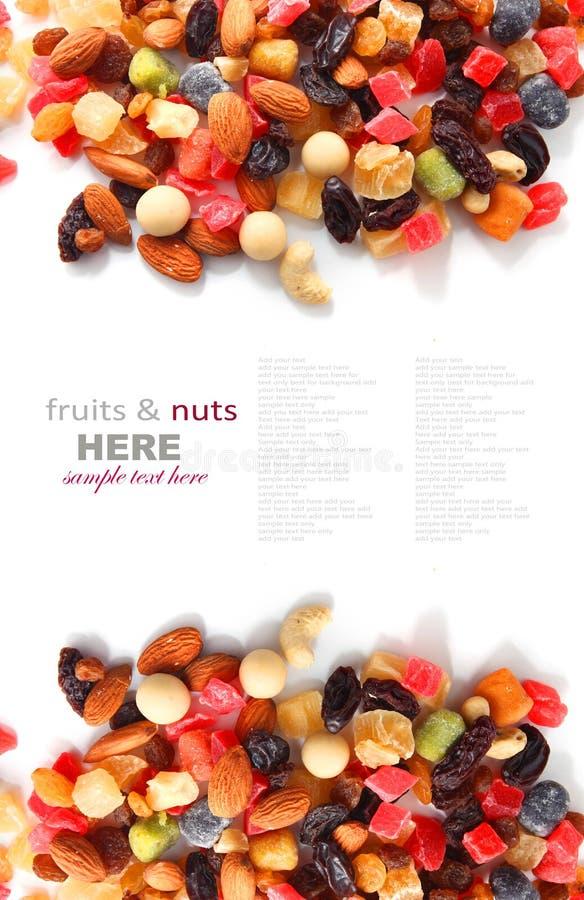 Dadi misti e frutti asciutti fotografia stock
