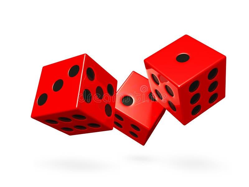 Dadi rossi del gioco di rotolamento illustrazione di stock