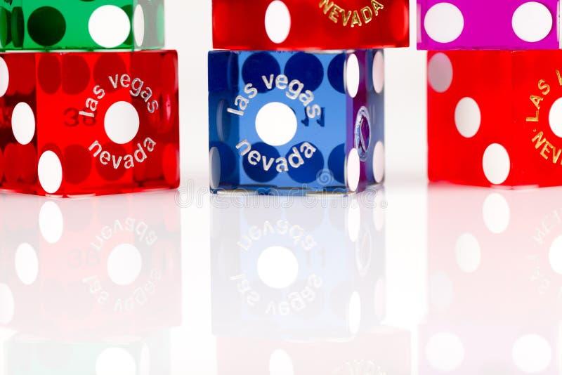 Dadi variopinti di gioco di Las Vegas immagine stock libera da diritti