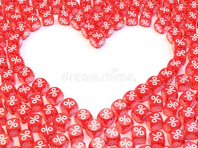 Download Dadi vuoti del cuore illustrazione di stock. Illustrazione di background - 56880836